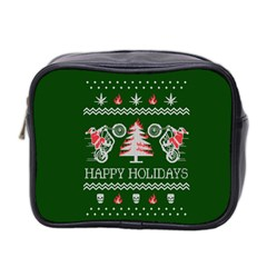 Motorcycle Santa Happy Holidays Ugly Christmas Green Background Mini Toiletries Bag 2-Side
