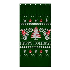 Motorcycle Santa Happy Holidays Ugly Christmas Green Background Shower Curtain 36  X 72  (stall)