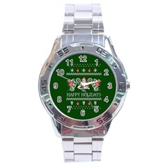 Motorcycle Santa Happy Holidays Ugly Christmas Green Background Stainless Steel Analogue Watch