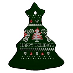Motorcycle Santa Happy Holidays Ugly Christmas Green Background Christmas Tree Ornament (2 Sides)