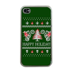 Motorcycle Santa Happy Holidays Ugly Christmas Green Background Apple Iphone 4 Case (clear)