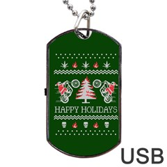 Motorcycle Santa Happy Holidays Ugly Christmas Green Background Dog Tag USB Flash (One Side)
