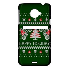 Motorcycle Santa Happy Holidays Ugly Christmas Green Background HTC Evo 4G LTE Hardshell Case