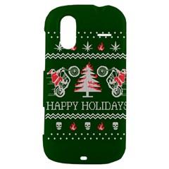 Motorcycle Santa Happy Holidays Ugly Christmas Green Background HTC Amaze 4G Hardshell Case