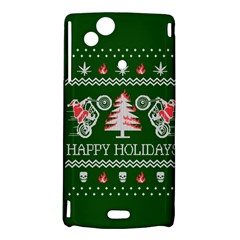 Motorcycle Santa Happy Holidays Ugly Christmas Green Background Sony Xperia Arc