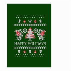 Motorcycle Santa Happy Holidays Ugly Christmas Green Background Small Garden Flag (two Sides)
