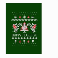 Motorcycle Santa Happy Holidays Ugly Christmas Green Background Large Garden Flag (two Sides)