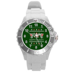 Motorcycle Santa Happy Holidays Ugly Christmas Green Background Round Plastic Sport Watch (L)