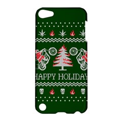 Motorcycle Santa Happy Holidays Ugly Christmas Green Background Apple iPod Touch 5 Hardshell Case