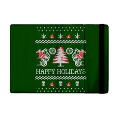Motorcycle Santa Happy Holidays Ugly Christmas Green Background Apple iPad Mini Flip Case