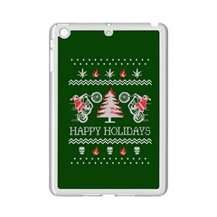 Motorcycle Santa Happy Holidays Ugly Christmas Green Background iPad Mini 2 Enamel Coated Cases