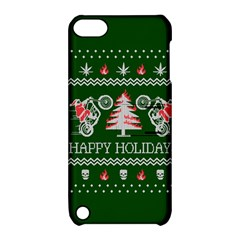 Motorcycle Santa Happy Holidays Ugly Christmas Green Background Apple iPod Touch 5 Hardshell Case with Stand