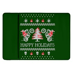 Motorcycle Santa Happy Holidays Ugly Christmas Green Background Samsung Galaxy Tab 8.9  P7300 Flip Case