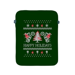 Motorcycle Santa Happy Holidays Ugly Christmas Green Background Apple Ipad 2/3/4 Protective Soft Cases