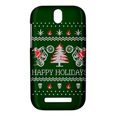 Motorcycle Santa Happy Holidays Ugly Christmas Green Background HTC One SV Hardshell Case