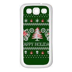 Motorcycle Santa Happy Holidays Ugly Christmas Green Background Samsung Galaxy S3 Back Case (white)