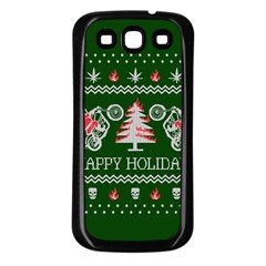 Motorcycle Santa Happy Holidays Ugly Christmas Green Background Samsung Galaxy S3 Back Case (black)