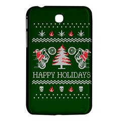 Motorcycle Santa Happy Holidays Ugly Christmas Green Background Samsung Galaxy Tab 3 (7 ) P3200 Hardshell Case