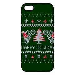 Motorcycle Santa Happy Holidays Ugly Christmas Green Background iPhone 5S/ SE Premium Hardshell Case