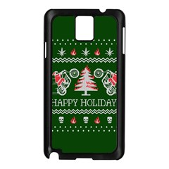 Motorcycle Santa Happy Holidays Ugly Christmas Green Background Samsung Galaxy Note 3 N9005 Case (Black)