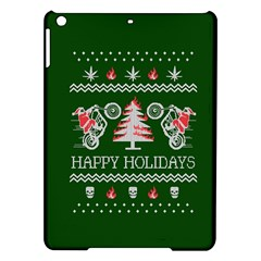 Motorcycle Santa Happy Holidays Ugly Christmas Green Background iPad Air Hardshell Cases