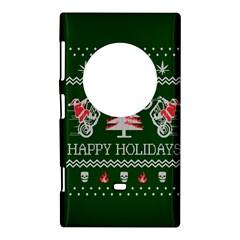 Motorcycle Santa Happy Holidays Ugly Christmas Green Background Nokia Lumia 1020