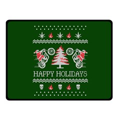 Motorcycle Santa Happy Holidays Ugly Christmas Green Background Double Sided Fleece Blanket (Small)