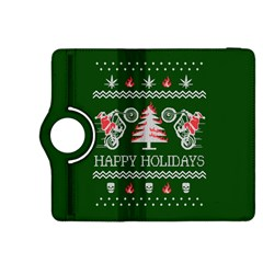 Motorcycle Santa Happy Holidays Ugly Christmas Green Background Kindle Fire Hdx 8 9  Flip 360 Case