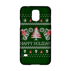 Motorcycle Santa Happy Holidays Ugly Christmas Green Background Samsung Galaxy S5 Hardshell Case