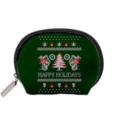 Motorcycle Santa Happy Holidays Ugly Christmas Green Background Accessory Pouches (small)