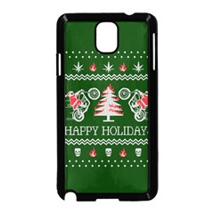 Motorcycle Santa Happy Holidays Ugly Christmas Green Background Samsung Galaxy Note 3 Neo Hardshell Case (black)