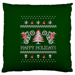 Motorcycle Santa Happy Holidays Ugly Christmas Green Background Standard Flano Cushion Case (two Sides)