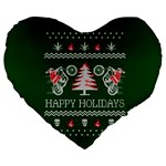 Motorcycle Santa Happy Holidays Ugly Christmas Green Background Large 19  Premium Flano Heart Shape Cushions Front