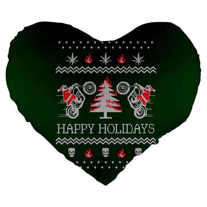 Motorcycle Santa Happy Holidays Ugly Christmas Green Background Large 19  Premium Flano Heart Shape Cushions