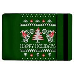 Motorcycle Santa Happy Holidays Ugly Christmas Green Background iPad Air 2 Flip