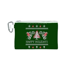 Motorcycle Santa Happy Holidays Ugly Christmas Green Background Canvas Cosmetic Bag (S)