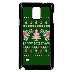 Motorcycle Santa Happy Holidays Ugly Christmas Green Background Samsung Galaxy Note 4 Case (Black)
