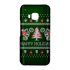 Motorcycle Santa Happy Holidays Ugly Christmas Green Background HTC One M9 Hardshell Case