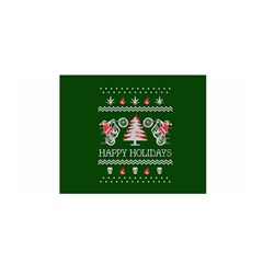 Motorcycle Santa Happy Holidays Ugly Christmas Green Background Satin Wrap