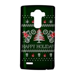 Motorcycle Santa Happy Holidays Ugly Christmas Green Background LG G4 Hardshell Case