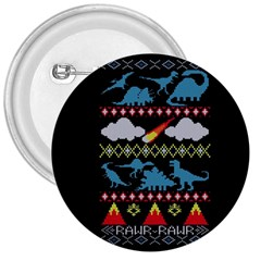 My Grandma Likes Dinosaurs Ugly Holiday Christmas Black Background 3  Buttons