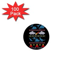 My Grandma Likes Dinosaurs Ugly Holiday Christmas Black Background 1  Mini Buttons (100 Pack)