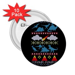 My Grandma Likes Dinosaurs Ugly Holiday Christmas Black Background 2.25  Buttons (10 pack)