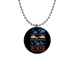 My Grandma Likes Dinosaurs Ugly Holiday Christmas Black Background Button Necklaces