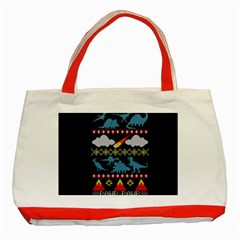 My Grandma Likes Dinosaurs Ugly Holiday Christmas Black Background Classic Tote Bag (Red)