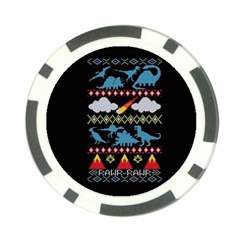 My Grandma Likes Dinosaurs Ugly Holiday Christmas Black Background Poker Chip Card Guards