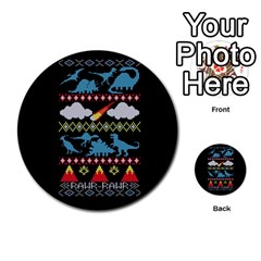 My Grandma Likes Dinosaurs Ugly Holiday Christmas Black Background Multi Purpose Cards (round)