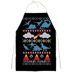My Grandma Likes Dinosaurs Ugly Holiday Christmas Black Background Full Print Aprons