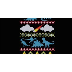 My Grandma Likes Dinosaurs Ugly Holiday Christmas Black Background YOU ARE INVITED 3D Greeting Card (8x4)