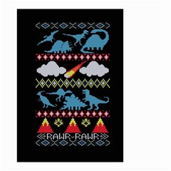 My Grandma Likes Dinosaurs Ugly Holiday Christmas Black Background Small Garden Flag (two Sides)